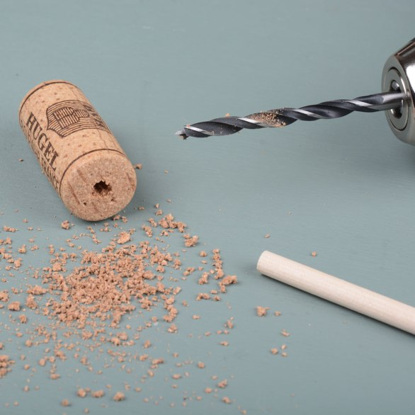 Drill-a-hole-in-a-cork